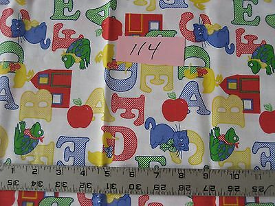 ABC's yellow, red, green & blue for baby  (#114) cotton quilt fabric 1 yard