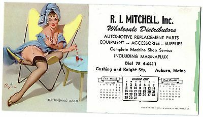 OCT.1961  PIN-UP BLOTTER by ELVGREN - R.I.MITCHELL INC. AUTO PARTS AUBURN,MAINE