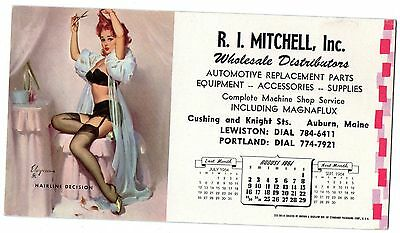 AUG.1964  PIN-UP BLOTTER by ELVGREN - R.I.MITCHELL INC. AUTO PARTS AUBURN,MAINE