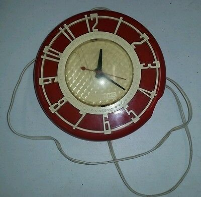 Vintage Wall Clock Spartus Red Kitchen Herold Products Chicago IL Model 501