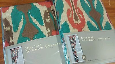"NEW IN PACK - World Market DIVA IKAT Curtain, 84"" Panel Pair -  2 Panels"