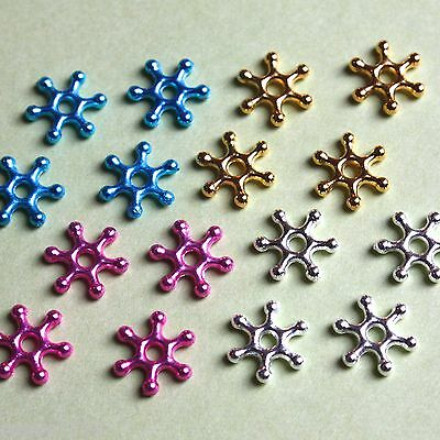 100 Colour Snowflake Spacer Beads 10mm Frozen Craft Cardmaking Flower 4 colours
