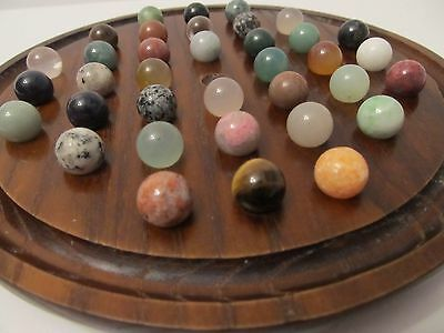 Vintage Marble Solitaire Game Wooden Base With Semi Precious Stone Glass Marbles
