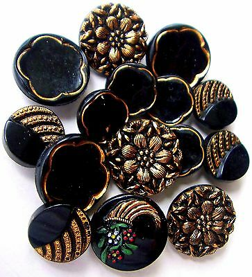 Vintage Black Glass Gold Luster Buttons - Le Chic Backmarks