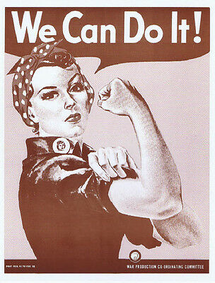 "We Can Do It Poster Print - Rosie The Riveter Wartime Poster - 11""x14"" Sepia"