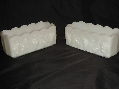 VINTAGE PAIR (2) ANCHOR HOCKING FIRE KING MILK GLASS RECTANGULAR PLANTERS GRAPES