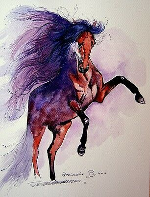 """WATERCOLOR ANDALUSIAN horse painting 8"""" x 12*Beautiful GIFT FOR horse lover"""