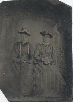 Tintype Portrait Of Two Beautiful Young Sisters In Nice Dresses