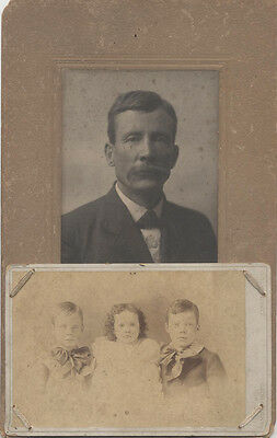 UNUSUAL DOUBLE PORTRAIT OF MAN W/ SEWN CABINET CARD OF CHILDREN