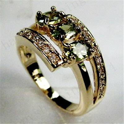 Sz6 Mini Olive Green  Peridot Women's 14KT Yellow Gold Filled Engagement Ring