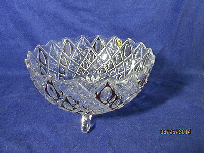 Vintage E R Golden Crown Lead Crystal Footed Bowl - Germany