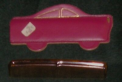 Vintage Tortoise Shell Plastic Comb w Red Leather Car Case New England English