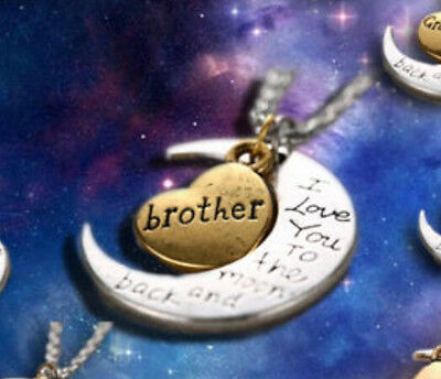 """Fashion Moon Heart Necklace """" I Love You To The Moon And Back """" For Brother Gift"""
