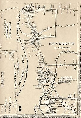 Hockanum Burnside Naubuc CT 1869 Map with Homeowners Names Shown