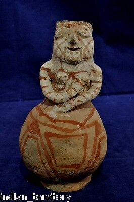 "Maricopa / Mojave Indian Human Female Effigy Pottery c.1930 7"" Red/B/W on Buff"