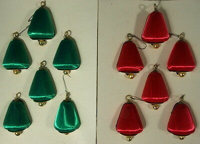 VINTAGE SET OF 12 PYRAMID SATIN BELL CHRISTMAS ORNAMENTS IN ORIGINAL BOXES