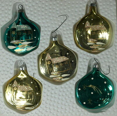 VINTAGE SET OF 5 FLAT GLASS DECORATED CHRISTMAS ORNAMENTS IN ORIGINAL BOX
