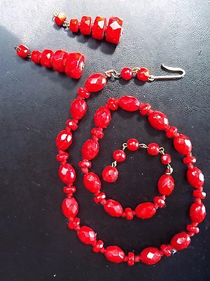 used ART DECO glass necklace FLAPPER RED LIPSTICK SET ANTIQUE VTG RARE EAR RINGS