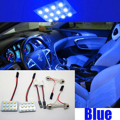 2X Bright 12SMD LED Blue Map Dome light interior Bulbs Panel Xenon HID Lamp GT-R
