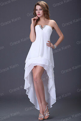 Size14 White Bridesmaid Long Prom Homecoming Gown Wedding Formal Evening Dresses