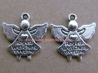 PJ126 10pcs Tibetan Silver Charms 2-Sided Angel Accessories Findings Wholesale