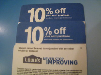 3 Lowes Cards exp 7/31/2015 10% CompetitorsCoupons Use ONLY @ HomeDepot