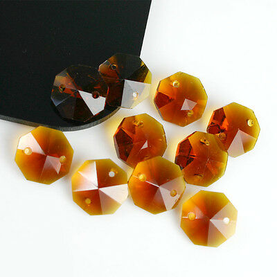 50PCS 14MM GLASS OCTAGON BEADS CRYSTAL PRISM CHANDELIER AMBER C