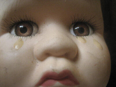 Vintage PORCELAIN CRYING BABY DOLL CLOTH BODY 14 INCHES