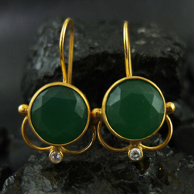 Handmade Emerald Earring W Topaz Earring  22K Gold Over 925K Sterling Silver