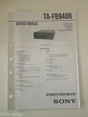 Schema SONY - Service Manual Integrated Stereo Amplifier TA-FB940R TAFB940R