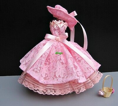 Vintage style Party Handmade Costumes for Barbie, Dolls Dress up Clothes salmon