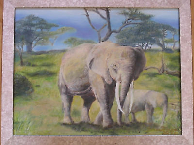 AFRICAN ELEPHANT MOTHER AND CHILD OIL PAINTING SIGNED JAMES FEVRIER CHILDREN NR