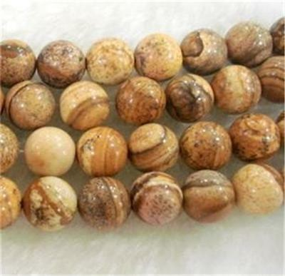 """6mm round Chinese Picture stone gems loose beads 15"""""""