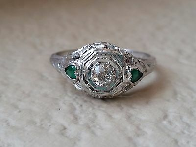 Vintage Art Deco Old European Cut Diamond Emerald 18K Gold Estate Antique Ring
