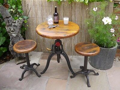 Urban Vintage Industrial Metal/Cast Iron Table,Bar Stool Set With Reclaimed Wood