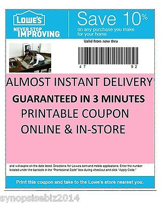 (3x) Three Lowes 10% off coupons~Expire 5/7/2015 -PRINTABLE! Fast DELIVERY