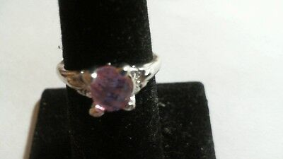 Sterling SILVER Plated Pink Crystal ring (size 7.75) 13-4 tra 3/2914 vvcgxddddx