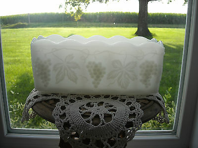 Vintage Anchor Hocking Fire King Milk Glass Rectangular Planter Grapes/Leaves