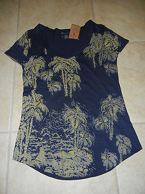 NWT LUCKY BRAND Scoop Neck Palm Tree Graphic Print  T-SHIRT   Size: XS X-Small
