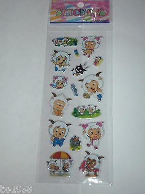 Chinese Cartoon Pleasant Goat And The Big Bad Wolf Puffy 1 Pk 15 Stickers C7710