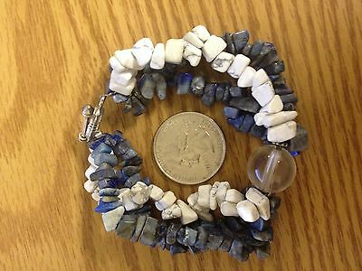 Lapis Lazuli and Howlite Bracelet Healing Calming Gem stone with silver clasp
