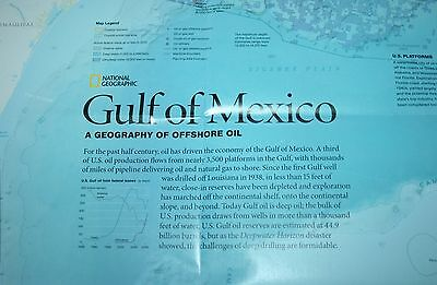Gulf of Mexico Layers of Life WALL MAP National Geographic Marine Ecosystems