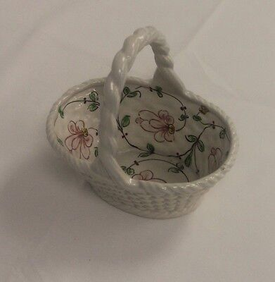 Decorative Hand Painted Porcelain Basket by Anfora Agueda for Horchow Portugal
