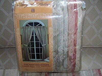 WC DESIGNS CURTAINS PAIR 2 PANELS 50X84 WITH TIEBACKS NEW IN PKG