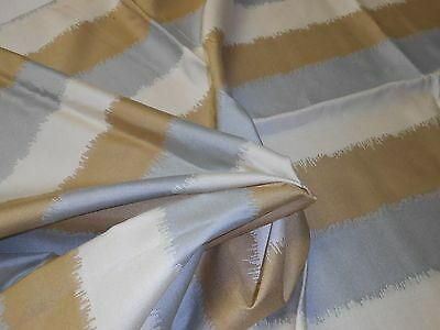 ONE remnant MODERN flamestitched STRIPED fabric SILVER IVORY GOLDEN colors