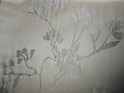 ONE silk cotton fabric REMNANT WOVEN FLORAL design WHITE SILVER