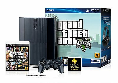 Sony Playstation 3 Super Slim 500 GB Charcoal Black Console 2 remotes and GTA V