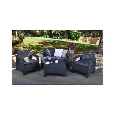 4PC Patio Set Cushion Seat Chair Outdoor Conversation Furniture Deck Pool Wicker