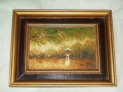 """Oil Painting of a Lady in the Woods From 1974 6""""L & 4""""H With Frame 8-1/2""""L 6-1/2"""