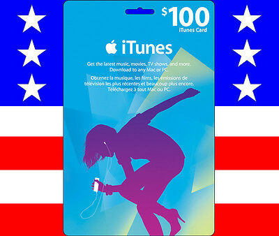 APPLE $100 US iTUNES GIFT CARD CERTIFICATE VOUCHER -100% FREE WORLDWIDE SHIPPING